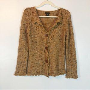 BCBG MaxAzria gold sweater with ruffled edges